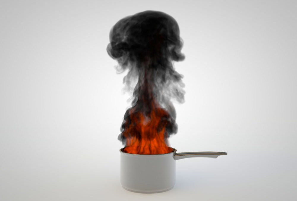 rendered illustration of a pan overheated and in flameson white background