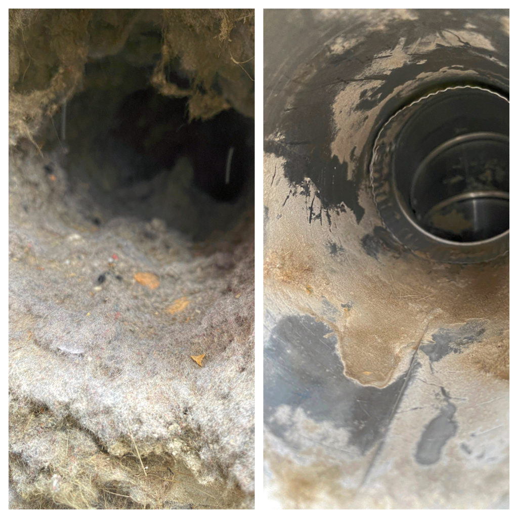Dryer Vent Clean Before and After